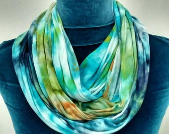 Ice Dyed Infinity Scarf in Turquoise Blue Aqua Green Super Soft Rayon Jersey