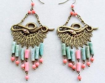 Victorian Cameo filigree Egyptian style earrings