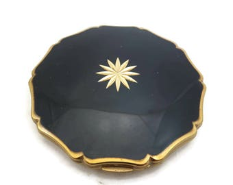 Stratton Compact - Vintage Black and Gold Starburst Powder Compact