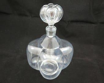 Antique Blown Glass Decanter Bottle - Bulbous Melon Shape