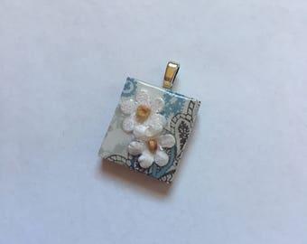 Scrabble Tile Pendant Necklace White Floral Blue Paisley Party  Favors Teacher Gift Birthday Gift Hostess Gift