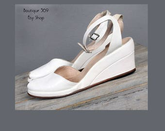 1940's White Leather Wedge Sandals Heels/Shoes - 7/7.5