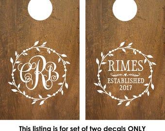 Cornhole Boards Decals | Custom Cornhole Boards | Decals for cornhole boards | Cornhole board designs | Wedding Monogram