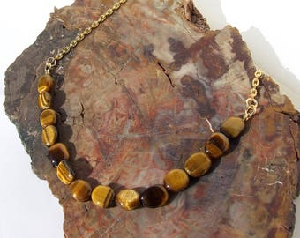 Tiger Eye Necklace, beaded chain, natural stone,  layering necklace, made to size, gold brown necklace