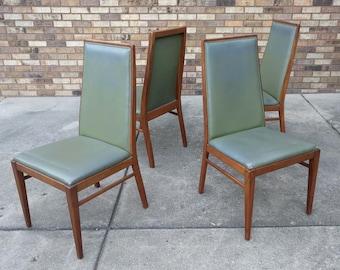 4 mid century modern FOSTER MCDAVID walnut dining chairs