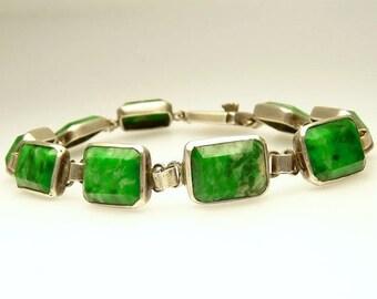 Vintage Sterling Silver Green Amazonite Bracelet Art Deco Style