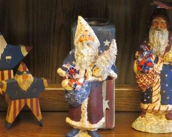 Paper mache Patriotic/Americana Santa w/Tree