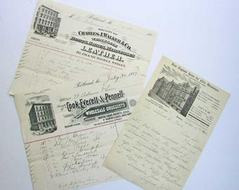 Three Antique Victorian 1880's-90's Pictorial Advertising Letterheads, Invoices, Victorian Architecture, Store Buildings, Hand Written