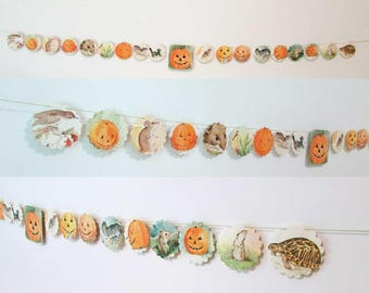 Jack o Lantern, Pumpkin, Halloween Theme Paper Story Book Garland, Paper Banner, Wall Garland, Party Decoration, Child's Room Decor