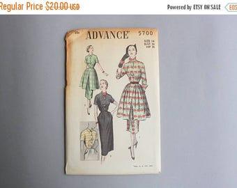 STOREWIDE SALE 1950s Dress Pattern / 50s Sewing Pattern with Overskirt Peplum / Uncut Advance Pattern 5700 14 bust 32 waist 26 1/2