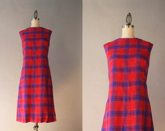 1960s Dress / Vintage 60s Cotton Shift Dress / Mod 60s Red and Blue Linen Sleeveless Shift Dress S small