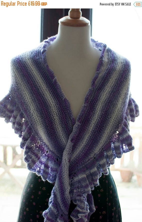 Christmas In July Handknitted Shawl in Purple and White