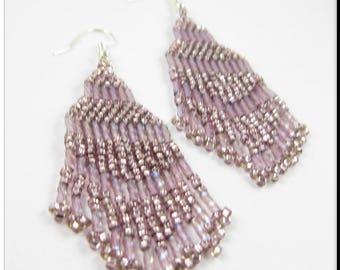 Native American Inspired Beadwork Seed Bead Earrings in Light Purple Fringe