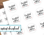 printable stickers, crocheted with love, crochet gift stickers, avery round labels, pink, black, white, crochet, dog lovers, cat lovers