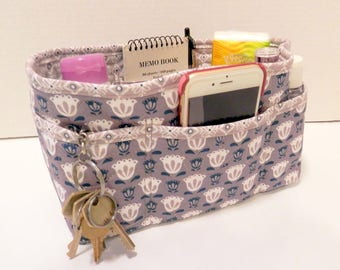 """Purse Organizer Insert/Enclosed Bottom  4"""" Depth/ Taupe and White"""