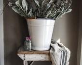 Reserved for Maryanne Vintage French Enamel Bucket, White Milk Pail, Planter, Home Decor