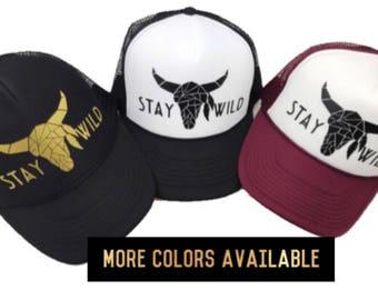 Stay Wild Hat, Geometric Longhorn Hat, Women's Black Hat, Maroon Hat, Skull, Stay Wild, Hippie Hat, Women's Adjustable Hat, Cute Hat, Boho
