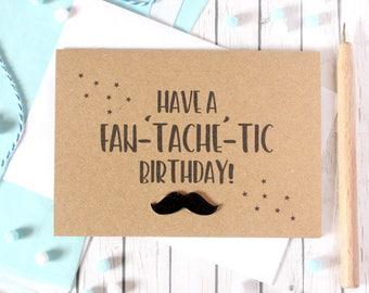 Happy Birthday Card. Dad Birthday Card. Birthday card for Dad. Mustache Birthday Card. Grandad Birthday. Boyfriend Birthday Card. Tache.