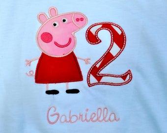 Peppa Pig birthday shirt with name monogram