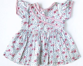 Vintage Doll Dress  / Handmade Doll Clothes / White With Pink Flowers Feed Sack Print  / Pink and Blue Doll Dress