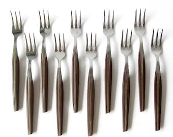 Mid Century Modern Silverware / Appetizer Cocktail Forks / Vintage Eldan Brown Japan Teak Look / Composite Stainless Silverware Eames Era