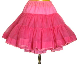 Vintage PINK Crinoline Petticoat / Crinoline Skirt / Moulin Rouge Can Can  / Full Circle Skirt / Rockabilly / Malco Modes Square Dance Skirt