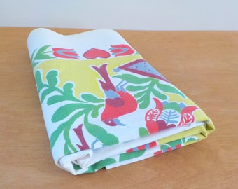 Vintage Mid Century Tablecloth • Floral Mid Century Table Cloth • Startex Tablecloth Chartreuse Red Green