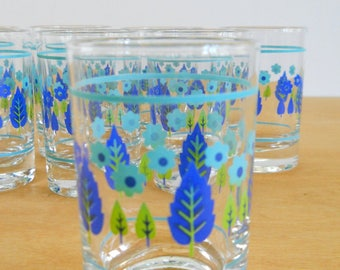 Vintage Stetson Marcrest Swiss Alpine Glass • Mid Century Juice Glass • Vintage Kitchen Glass Blue Chartreuse Aqua