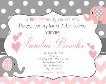 Elephant Baby Shower Invitation, Printable Photo Card, Digital File,