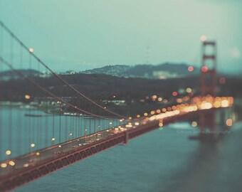 San Francisco photography, large Golden Gate bridge photo, night photography, San Francisco city lights, dreamy California, peppermint blue