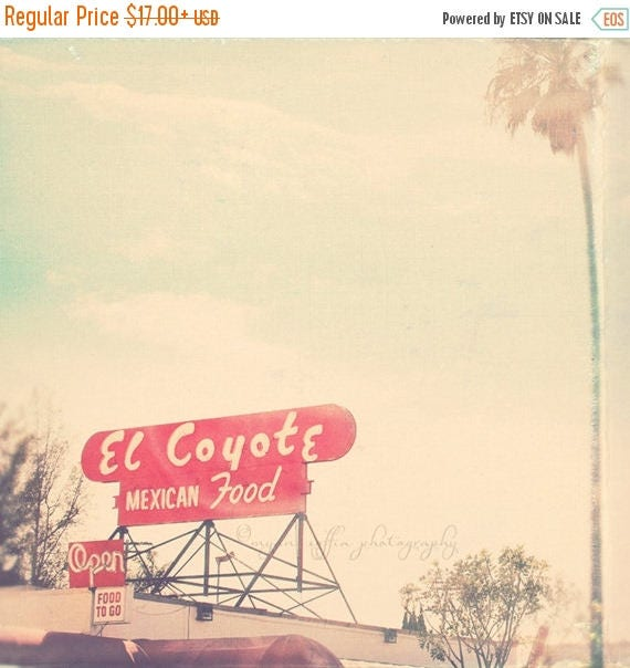 SALE Los Angeles photo. El Coyote red mexican food sign, retro diner, celebrity history, photograph of Hollywood landmark, palm tree, art