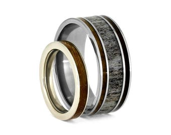 Whiskey Barrel Wood Ring Set, White Gold And Deer Antler Wedding Bands, Matching Wedding Bands, Natural Wedding Jewelry