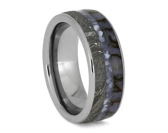 Pearl Wedding Band With Dinosaur Bone And Meteorite, Titanium Ring With Mother Of Pearl