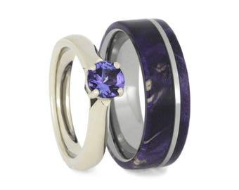 Purple Wedding Ring Set, Tanzanite Engagement Ring With Diamonds And Purple Box Elder Burl Wood Wedding Band