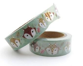 Fox Washi Tape - Cute Washi Tape - 15mm x 10 Metres - Autumn Washi Tape - Washi Tape in Australia