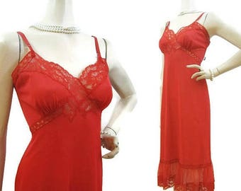 REDUCED Vintage 50s 60s Full Slip RED Nylon and Lace 32 Gotham