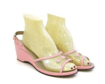 Vintage 50s Wedge Sandals Pink Slingback Heel Shoes Clear Vamp Flowers 8.5 9