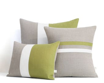 Colorblock Stripe Pillow Cover Set of 3, Linden Green and Cream Striped Pillow and Color Block Pillow by JillianReneDecor, AS SEEN in GQ