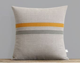 Marigold Striped Pillow Cover in Stone Grey & Natural Linen by JillianReneDecor - Modern Home Decor - Dark Mustard