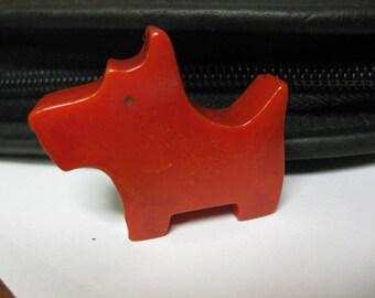 """Vintage Bakelite Red Scotty Scottie Dog Pencil Sharpener 1-1/2"""" x 1-1/4"""" x 7/16"""" Animal"""