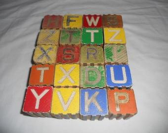 20 Vintage Wooden Wood Letter Alphabet Locking Blocks Baby Nursery Decor Photography