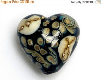 ON SALE 35% OFF Black/Ivory & Beige Heart Focal Bead - Handmade Lampwork Bead 11809505