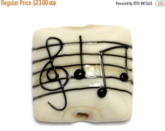 ON SALE 30% off NEW! Handmade Glass Lampwork Bead - 11838804 Musical Notes Pillow Focal Bead