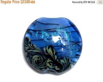 ON SALE 30% off NEW! 11837502 Arctic Blue Shimmer Lentil Focal Bead - Handmade Glass Lampwork Bead