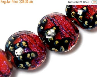 ON SALE 30% off Four Passion Pink Shimmer Lentil Beads - 10706712 Handmade Glass Lampwork Beads