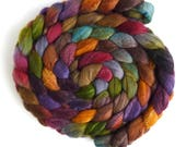 Polwarth/Silk Roving - Handpainted Spinning or Felting Fiber, Gilded Complements