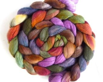 Targhee Wool Roving - Hand Painted Spinning or Felting Fiber, Dreams I Hold