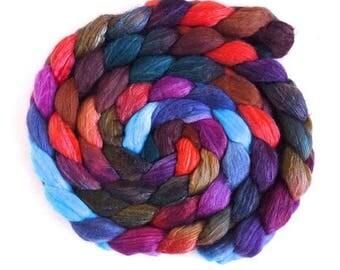Striated Sunset, Merino/ Silk Roving - Handpainted Spinning or Felting Fiber