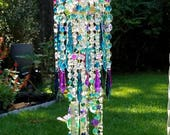 Antique Crystal Wind Chime, Hummingbirds Wind Chime, Teal and Purple Wind Chime, Garden Decoration, Window Decor, Crystal Art, Garden Art