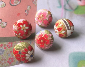 "Handmade Small Japanese Oriental Blossom Pink Gold Red Floral Flowers Fabric Covered Buttons, Flat Backs, 0.75"" 5's"